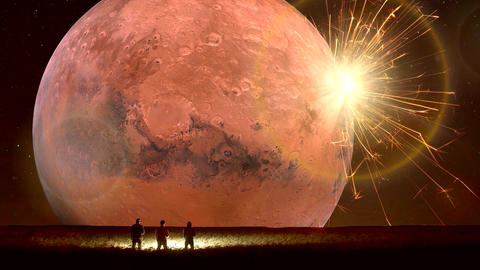 Amazing Fantastic Unreal Landscape Animation (with Red Moon), Ver. 05 CG動画素材