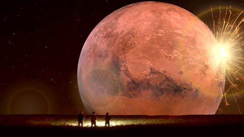 Amazing Fantastic Unreal Landscape Animation (with Red Moon), Ver. 02 CG動画素材