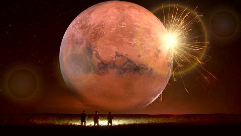 Amazing Fantastic Unreal Landscape Animation (with Red Moon), Ver. 10 CG動画素材