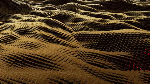 Waves brown metallic liquid with reflections. 3D rendering フォト