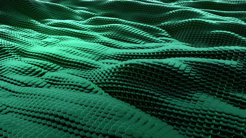 Animation of wave green metallic liquid with reflections. Loopable animation Animación