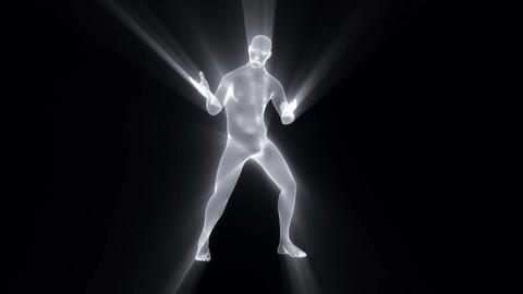 3D White Wireframe Man with Light Rays Loop Graphic Element CG動画素材