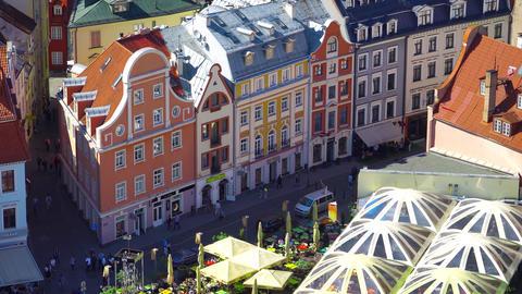 Riga , Latvia - MAY, 2018: Aerial view of Riga. Panorama View at Riga from the Footage