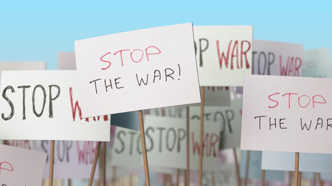 STOP WAR placards at street demonstration. Conceptual loopable animation Footage