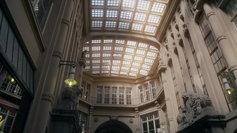 LEIPZIG, GERMANY - MAY 1, 2018. Madler Passage shopping mall glass roof Footage