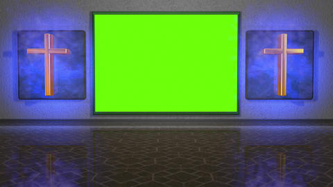 Virtual studio set with crosses and green screen. Spiritual theme Animation