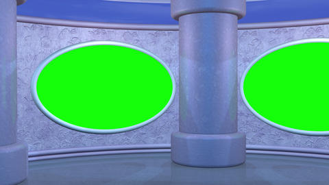 Virtual studio set. Oval screens, clouds in background Animation