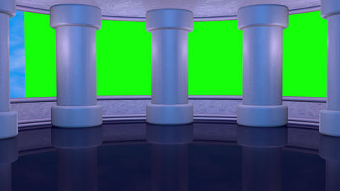 Virtual studio with tall columns and clouds .Green screen opening, closing wall CG動画素材