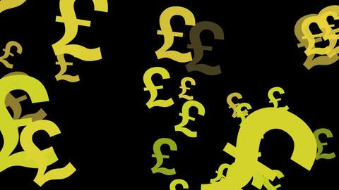 Great British Pound symbols floating upwards Looped animated background Footage