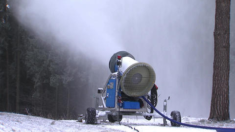 Snow gun,artificial snow production Footage