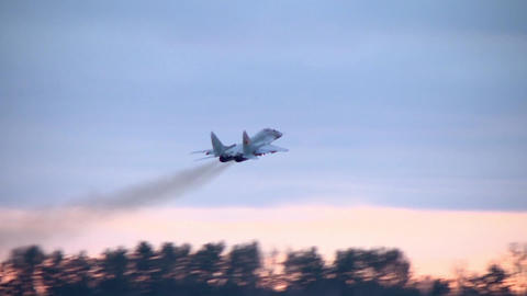 Military aircraft MIG 29 takes off from the airport Footage