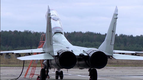 Military aircraft MIG 29 is in the Parking lot Footage