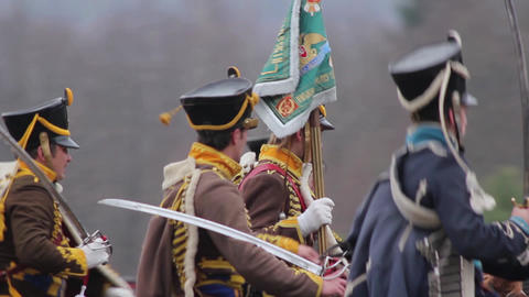 the war of 1812, the Russian cavalry with the banner, the hussars Footage