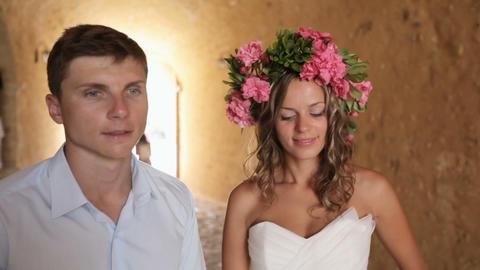 Wedding couple in wedding day, gentle hugs Footage