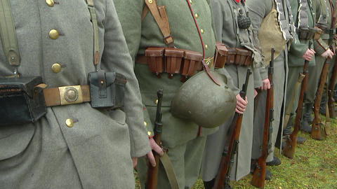 German soldiers of the first world war stand in formation, re-enactors Footage
