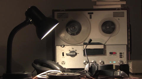 Rewind to reel tape recorder,spinning reel, wiretapping by intelligence agencies Live Action