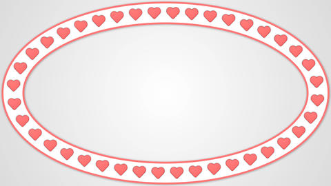 Heart romantic love red white background ellipse frame Animation