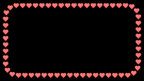 Heart romantic love red white background rectangle frame CG動画素材