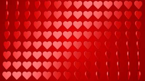 Rotating hearts romantic love red white background Animación