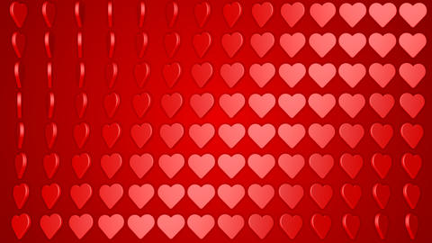 Rotating hearts romantic love red white background, Stock Animation
