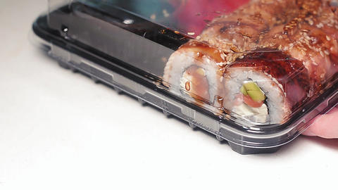 Fresh japanese sushi take away in the box Live Action