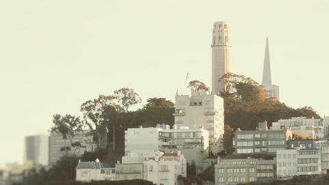 Establishing shot of Telegraph Hill in San Francisco Footage