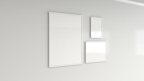 Blank white poster in white frame on the wall Photo