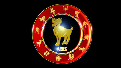 ARIES Zodiac sign It`s Nice rotating 3d golden Zodiac sign (Indian astrology) Animation