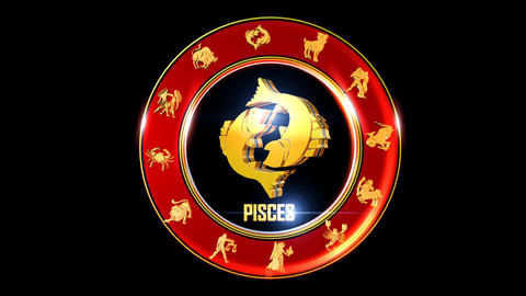 PISCES Zodiac sign It`s Nice rotating 3d golden Zodiac sign (Indian astrology) Animation