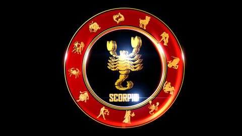 SCORPIO Zodiac sign It`s Nice rotating 3d golden Zodiac sign (Indian astrology) Animation