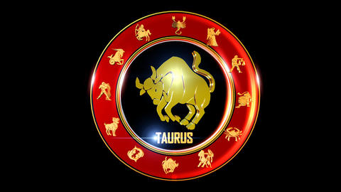TAURUS Zodiac sign It`s Nice rotating 3d golden Zodiac sign (Indian astrology) Animation