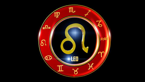 LEO Zodiac sign It`s Nice rotating 3d golden Zodiac sign (Western astrology) 애니메이션