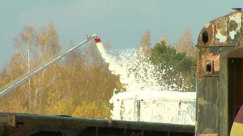 Foam fire extinguish a fire Footage