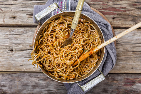 pasta bolognese , Italian, dinner, rustic style, top view. copy space Photo