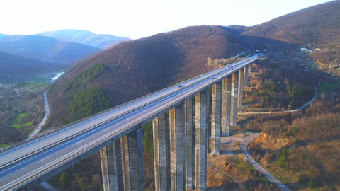 flying over mountain bridge beautiful nature in bulgaria landscape ,aerial view Live Action