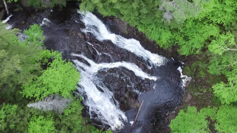 Waterfall Aerial Spinning- Black Brook, Pictou County, Nova Scotia Footage