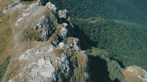 Popular mountain peak Goat Wall,Old Mountain Bulgaria Aerial footage High Peak Footage