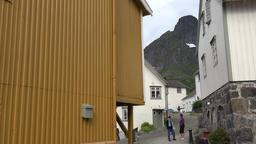 Norway Lofoten Flakstadøy Nusfjord alley and Scandinavian homes Footage