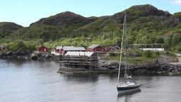 Norway Lofoten islands Flakstadøy Nusfjord small settlement an bay ビデオ