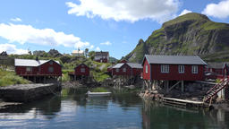 Norway Moskenesoy island fishing village Å i Lofoten houses on stilts at shore Footage