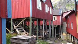 Norway Moskenesoy fishing village Å i Lofoten stilts constructions & mountains GIF