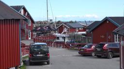 Norway Moskenesoy island fishing village Å i Lofoten center with parking lot Footage
