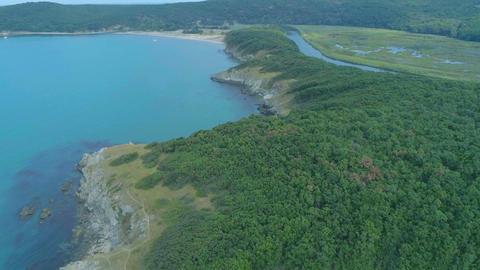 Beautiful nature close to the sea in Arkutino Beach- Aerial 4k Bulgaria Live Action