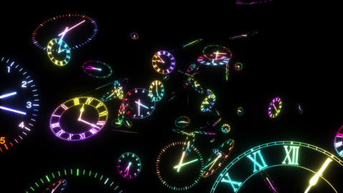 Time warp_loop_rainbow colors black background CG動画素材