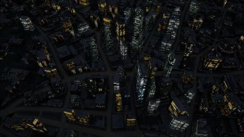 Night city birds eye view 4K GIF