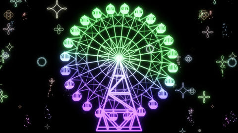 Ferris wheel_rainbow color_loop_with particle CG動画素材