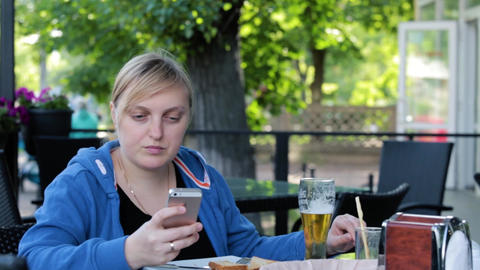 woman, cellphone, lunch, attractive, summer terrace Footage