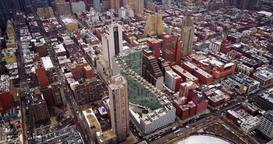 Large skyscrapers of New York, a house with huge steps, aerial footage Footage