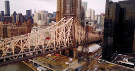 Aerial Footage. The funicular moves along the Manhattan Bridge, against the Footage