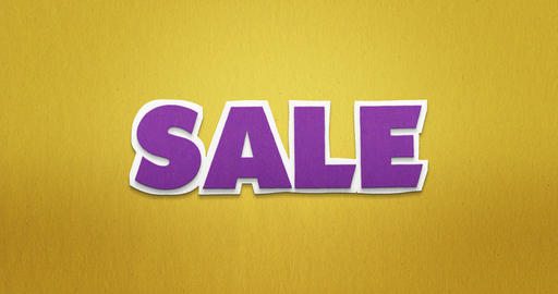 Sale. purple letters fly from the top in and disappear again Animation